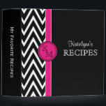 """Pink &amp; Black Monogram Recipe Binder<br><div class=""""desc"""">Stylish and trendy black and white chevron zigzag stripes pattern recipe binder features a bright pink accent border and circle frame for your monogram initials. A cool and fun way to collect, store and organize all your recipes. Makes a great gift for all occasions. Click the &quot;Customize it!&quot; button to...</div>"""
