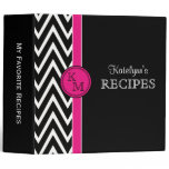 Pink & Black Monogram Recipe Binder