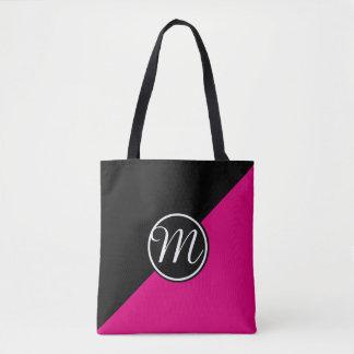 Pink Black Monogram Tote Bag