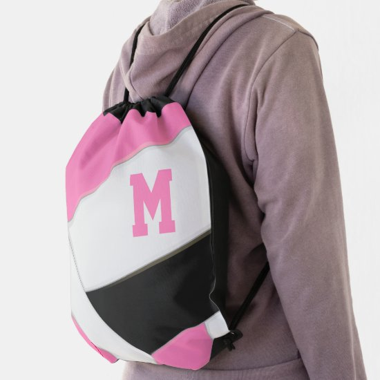 pink black monogrammed girl's volleyball drawstring bag