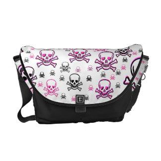 Pink & Black Multi Skulls Courier Bags