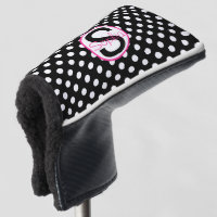 Pink Black Name Initial with Polka Dots Golf Head Cover