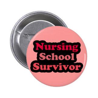 Pink Black Nursing School Survivor Pinback Button