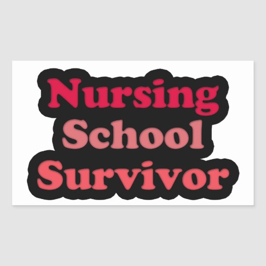 Pink Black Nursing School Survivor Rectangular Sticker