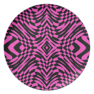 Pink Black Op Art Abstract Plate