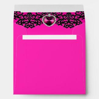 Pink & Black Ornate Heart Pendant Wedding Envelope