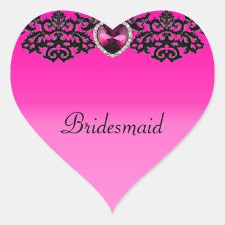 Pink & Black Ornate Heart Pendant Wedding Heart Sticker