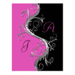 Pink Black Ornate Silver Swirls Save The Date Postcards