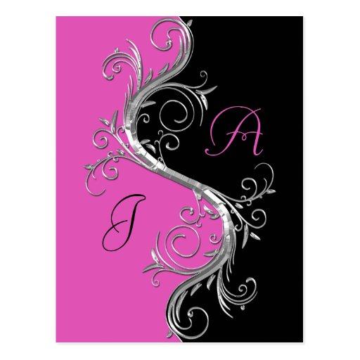 Pink Black Ornate Silver Swirls Save The Date Postcards