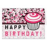 Pink & Black Paint Splatter Birthday Card