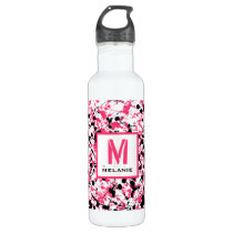 Pink & Black Paint Splatter Monogram Water Bottle
