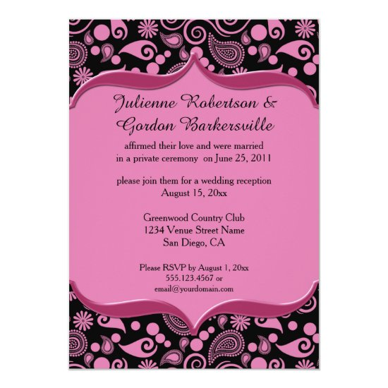 Pink Black Paisley Ornate Pink Frame Post Wedding Invitation