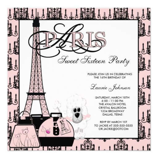 Pink Black Paris Chandelier Sweet Sixteen Party Personalized Invites