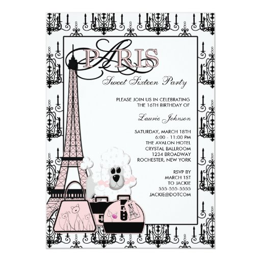Pink Black Paris Chandelier Sweet Sixteen Party Custom Invites