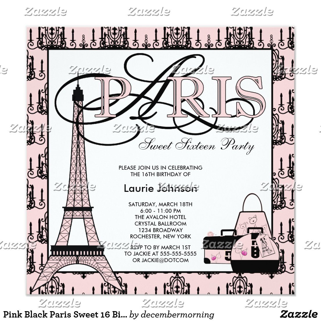 Pink Black Paris Sweet 16 Birthday Party Invitation