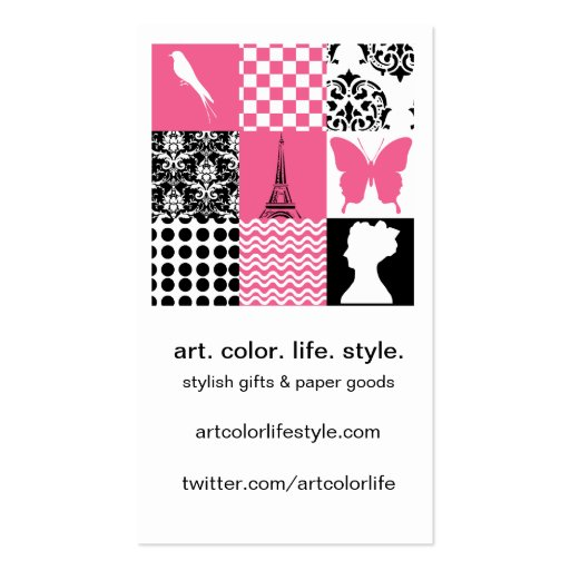 Pink & Black Patchwork Double-Sided Standard Business Cards (Pack Of 100)