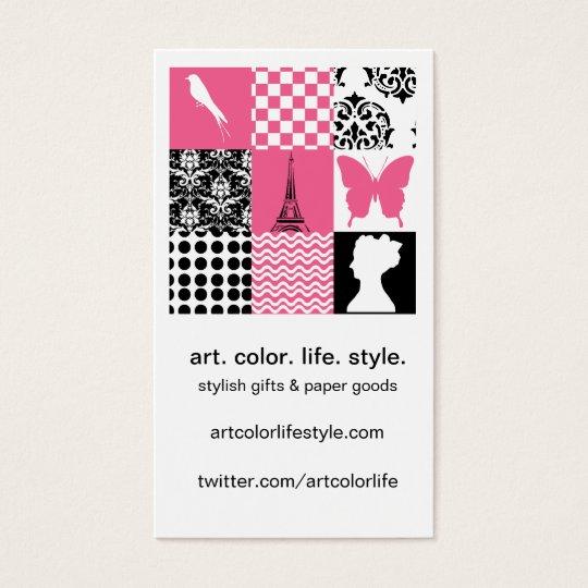 Pink & Black Patchwork Business Card
