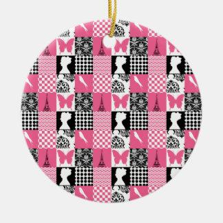Pink & Black Patchwork Ceramic Ornament