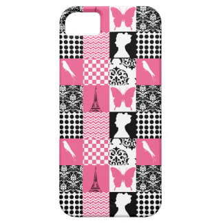 Pink & Black Patchwork iPhone SE/5/5s Case