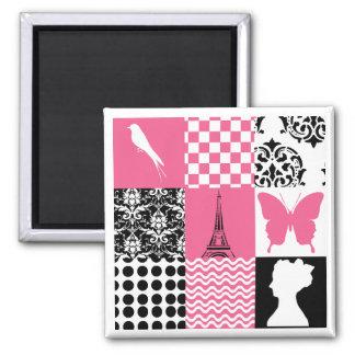 Pink Black Patchwork Magnets