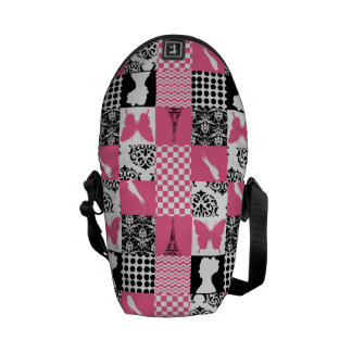 Pink & Black Patchwork Messenger Bags