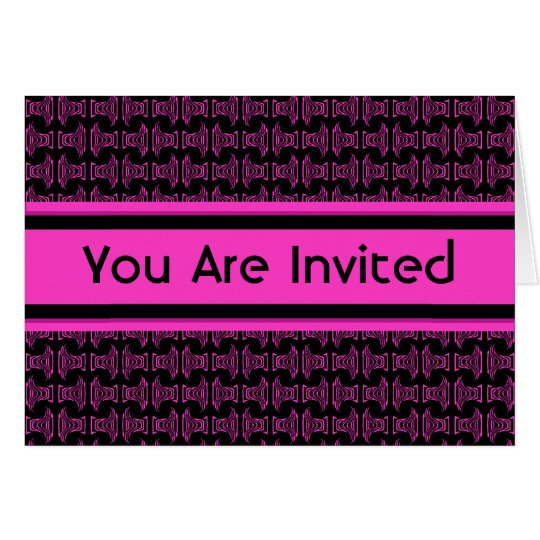 Pink black pattern party card