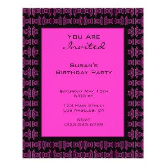 Pink black pattern party flyers