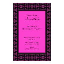 Pink black pattern party flyer