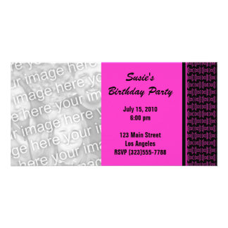 Pink black pattern party photo card template