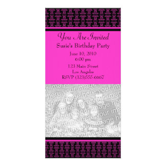 Pink black pattern party photo greeting card