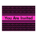 Pink black pattern party postcard