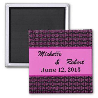 Pink Black Pattern Wedding Refrigerator Magnets