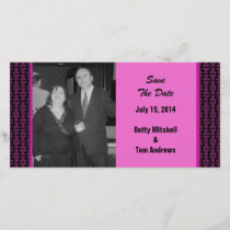 Pink Black Pattern Wedding Save The Date