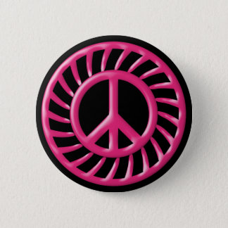 PINK & BLACK PEACE SIGN BUTTON