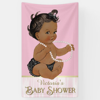 Pink Black Pearl African American Girl Baby Shower Banner