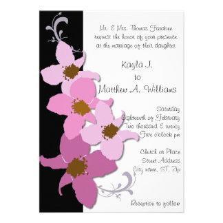 Pink Black Periwinkle Flower Flourish Wedding Custom Invitation