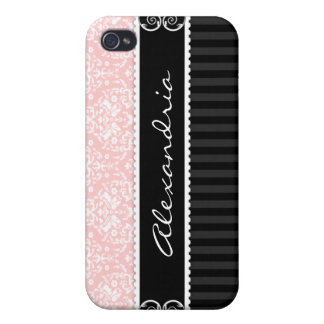Pink & Black Personalized Damask iPhone 4 Case