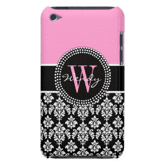 Pink Black Personalized Initial Damask Barely There iPod Case