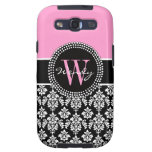 Pink Black Personalized Initial Damask Samsung Galaxy S3 Covers