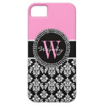 Pink Black Personalized Initial Damask iPhone 5 Cover