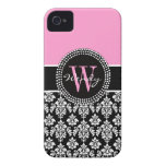 Pink Black Personalized Initial Damask Case-Mate iPhone 4 Case