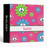 Pink Black Personalized Peace Sign School Binder