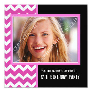 Pink Black Photo 17th Birthday Party Invitations