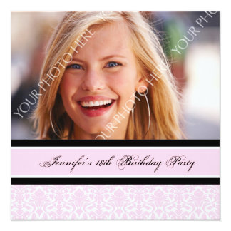 Pink Black Photo 18th Birthday Party Invitations