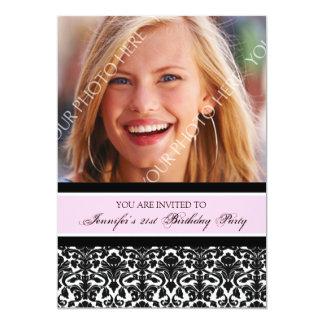 Pink Black Photo 21st Birthday Party Invitations
