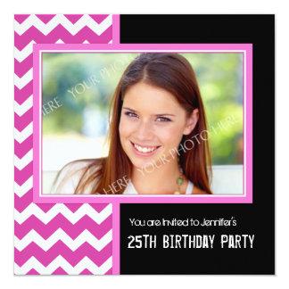 Pink Black Photo 25th Birthday Party Invitations