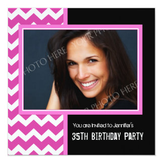 Pink Black Photo 35th Birthday Party Invitations