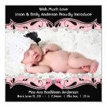 "Pink Black Photo Baby Girl Birth Announcement 5.25"" Square Invitation Card"