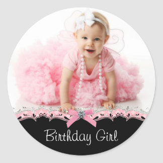Pink Black Photo Birthday Party Stickers