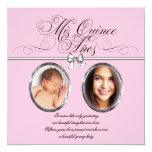 Pink Black Photo Quinceanera 5.25x5.25 Square Paper Invitation Card